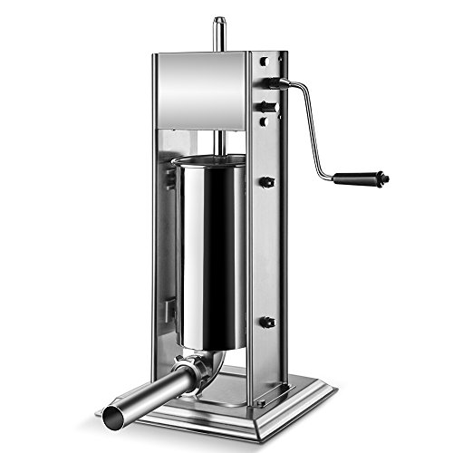 Flexzion Sausage Stuffer Maker Grinder Filler - (5L) 15 Lb Vertical Stainless Steel Two Speed Homemade & Commercial Grade Hand Crank Meat Press Machine Equipment with 4 Stuffing Tube Attachment (Waring Pro Dehydrator Accessories compare prices)