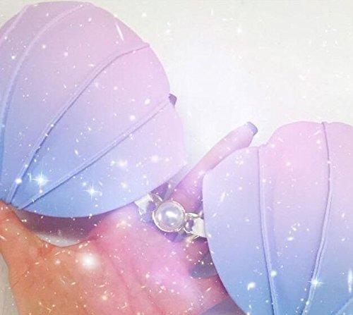 677ba4e4342 ... シェル パール マーメイド 人魚 風 ビキニ グラデーション カラー おしゃれ 可愛い 水着 防水 ポーチ付 (M ...