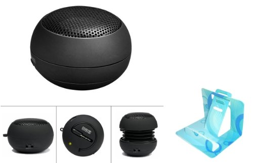 Universal Mini Portable Music Speaker Rechargeable Pop Up Hamburger Capsule Design For Verizon Htc 7 Trophy (Comes With Universal Phone Stand)