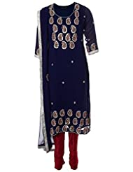 AzraJamil Indian Georgette Royal Blue Gota Hand Work Traditional Churidar Suit For Women