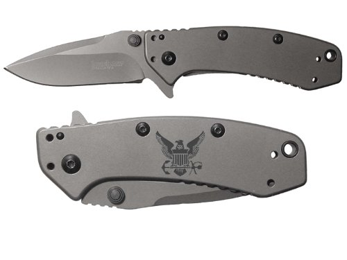 Navy Bird Crest Emblem Logo Engraved Kershaw Cryo 1555Ti Folding Speedsafe Pocket Knife By Ndz Performance