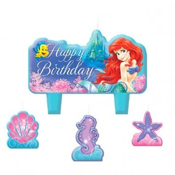 "Amscan Charming Ariel Little Mermaid Designed Character Themed Candle Set, Light Blue/Purple/White, 1.25"" - 1"
