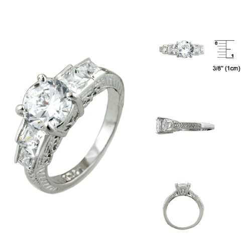 Sterling Silver Rhodium Finish Brilliant and Princess CZ Antique Style Engagement Ring Size: 5