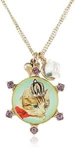 "Betsey Johnson ""Vintage Kitty"" Cameo Pendant Necklace, 19"""