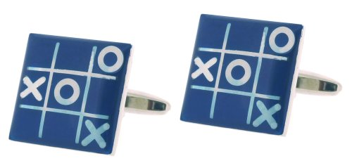 Code Red Base Metal Rhodium Plated With Blue And Silver Colour Enamel Cufflinks