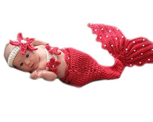 JISEN sirenetta all'uncinetto per neonata, fatto a mano, lavorato a maglia, Unisex bambino, completo di ricambio per foto, Pantaloni da sci con bretelle, colore: rosso