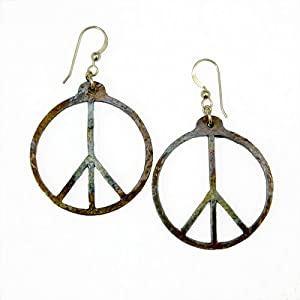 Peace Symbol hand hammered delicate iridescent earrings