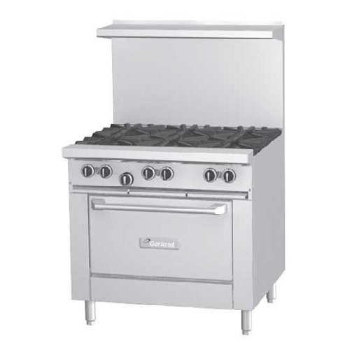 Garland G36-4G12T Ng 36-In Modular Restaurant Range W/ 4-Burners & 5/8-In Smooth Steel Plate, Ng, Each front-556937
