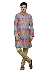 Dhrohar Silk Orange Ikat Long Kurta Pyjama Set for Men