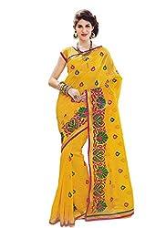 Bhagawati Women's Jute Silk Saree BS-016_Yellow