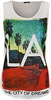 WearAll - 'LA' imprimé débardeur top avec col rond et sans manches - Hauts - Femmes - Tailles 36 à 42