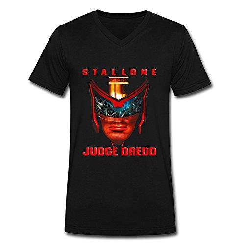 LianJian Judge Dredd Poster Men's V Neck T-Shirt Medium Black