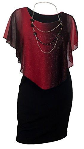 EVogues Plus Size Layered Poncho Dress Glitter Red - 3X