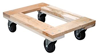 "Vestil HDOF-1624-12 Flush Deck Hardwood Dolly, 1200 lbs Capacity, 24"" Length x 16"" Width x 6-3/4"" Height Deck"