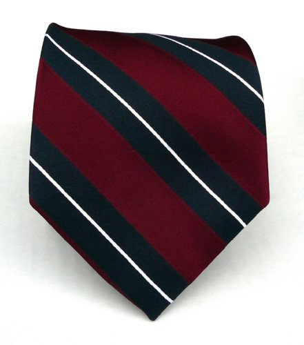 100% Silk Woven Brugundy and Navy Striped Tie