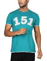 Paani Puri Men's Round Neck Cotton T-Shirt (Teal)