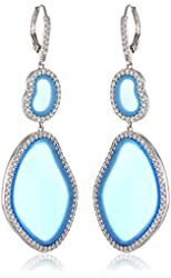 """CZ by Kenneth Jay Lane """"Trend Collection"""" Rhodium-Plated Cubic Zirconia Organic Shape Dangle Drop Earrings, 4 CTTW"""