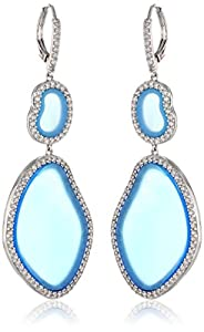 "CZ by Kenneth Jay Lane ""Trend Collection"" Organic Shape Cubic Zirconia and Blue Agate Dangle Drop Earrings"