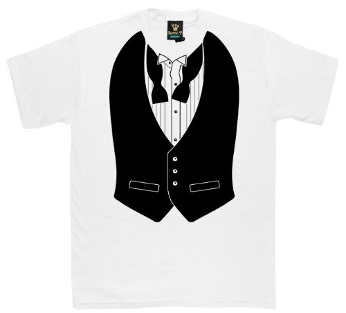 Royal T - Black Waistcoat White - Mens T-Shirt White - Prime or Super Saver Delivery