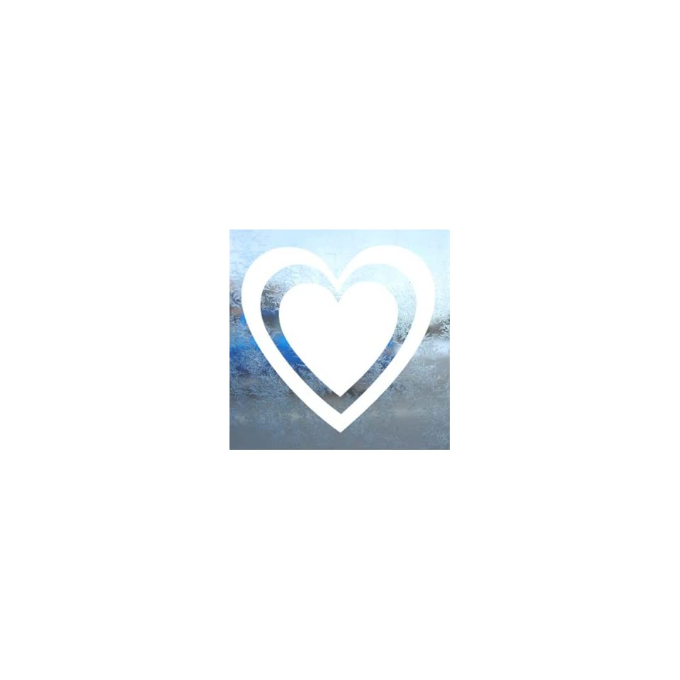 Outlined Heart White Decal Car Laptop Window Vinyl White Sticker