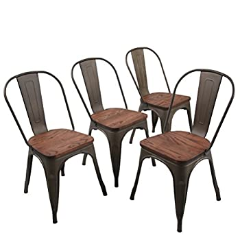 Andeworld Set of 4 Metal dining Chairs Bistro Cafe Side Chairs Gun Metal Chairs (B Wood Top)