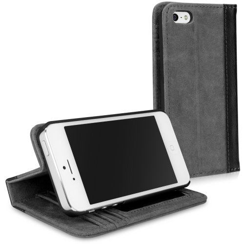 Great Price BoxWave Classic Book Apple iPhone 5 Case - Slate Grey - Vintage Book Cover Case, Genuine Leather Wallet Case Design with Card Slots and Viewing Stand for Apple iPhone 5