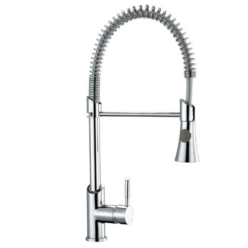 Trueshopping Pull-Down Sprayer Kitchen Sink Mixer Pull Out Spray Tap Swivel Spout - Solid Brass with Modern Chrome Finish