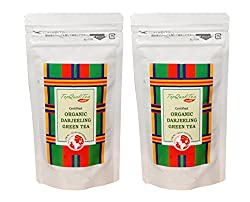 TopQualiTea Organic Darjeeling Green Tea 50gm Each(Pack of 2) - Healthy & Delicious (Makes 20-25 Cups), Exotic Long Leaf Green Tea from Darjeeling, Refreshing & Calming, Rich with Natural Anti-Oxidant Best for Weight loss and Health Lifestyle.