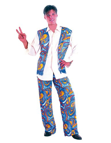 Woodstock Flower Power Costume with psychedelic patterned waistcoat and bell bottom trousers