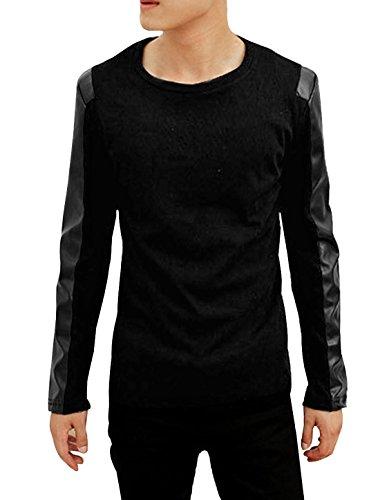 Allegra K Men Fashion Long Sleeve Faux Leather Patch Primer Shirt Black, Medium/ US 40