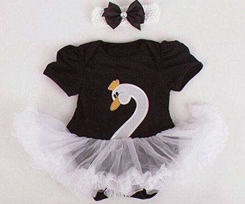 Dorara(TM) Baby Girls Swan Romper Dress Ballet for Twins Sisters (L: 6-12 months, Black) (Twin Girl Costumes)