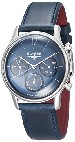ELYSEE Made in Germany Classic I 38012 39mm Stainless Steel Case Black Calfskin Mineral Men's Watch