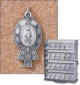 Sterling Silver St. Mary Mother of God Miraculous Medal (Pendant-Charm) Patron Saint with 18