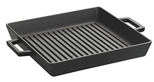 Lava ECO Enameled Cast-Iron 10 x 10 inch Square Grill Pan, Slate Black