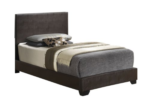 Cappuccino - Twin Size - Modern Headboard Leather Look Upholstered Platform Bed (Twin Low Profile Box Spring compare prices)