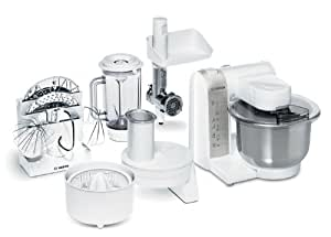 Bosch MUM4880 Küchenmaschine MUM4 (600 Watt, Edelstahl-Rührschüssel, Durchlaufschnitzler, Mixeraufsatz Kunststoff, Fleischwolf, Zitruspresse, Rezept DVD) weiß