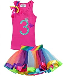 Bubblegum Divas Little Girls\' 3rd Birthday Rainbow Tutu Outfit 4