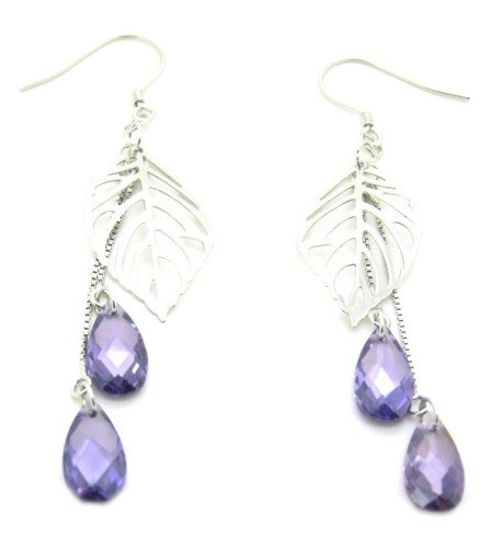 925 Sterling Silver Leaf Zircon-drop Dangle Earrings
