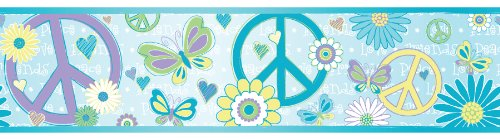 Blue Peace And Love Border, Blue