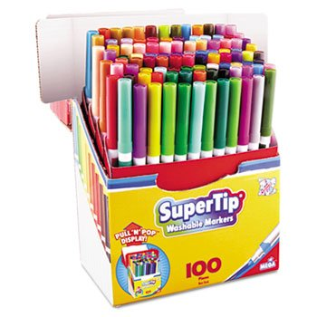 Supertip Washable Markers, 100 Assorted Colors, 100/Set by THE BOARD DUDES (Catalog Category: Paper, Pens & Desk Supplies / Markers / Industrial/Specialty)