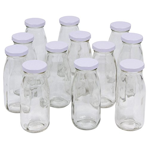 A & A Worldwide 12-pack Vintage Glass Milk Bottles, 8-ounce with White Metal Twist Lids (8 Oz Milk Jars compare prices)