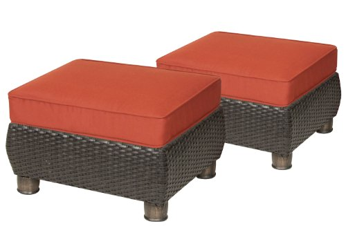 patio sets clearance breckenridge patio ottomans 2 piece set brick red by la z boy outdoor. Black Bedroom Furniture Sets. Home Design Ideas