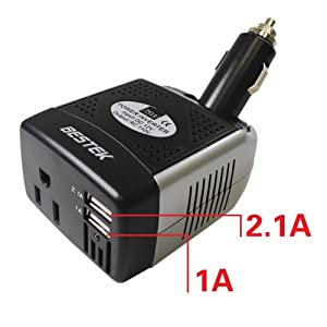 BESTEK 75w Dual USB iPad charger dc ac power inverter car dc 12v to 110v car adapter usb charger car samsung adapter pda car charger htc adapter car lg charger mp3 car adapter iphone charger car motolora adapter ipad car charger blackberry car adapter lap