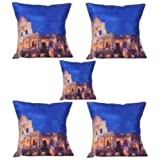 MeSleep Digitally Printed Colosseum 5 Piece Cushion Cover Set - Multicolor