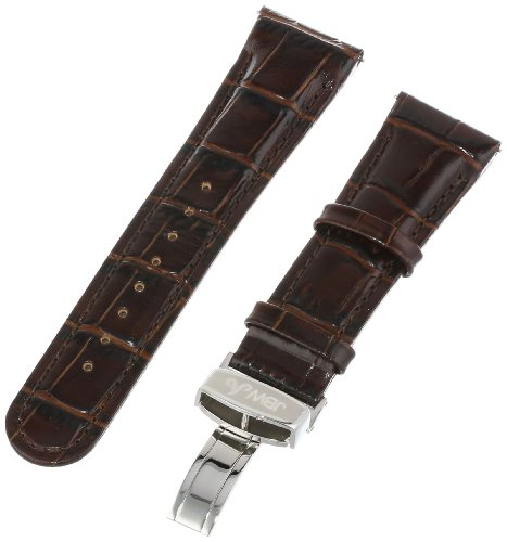 JBW Men's JB-24mmSILV_DBRN 24mm Genuine Dark Brown Crocodile Pattern Butterfly Buckle Leather Watch Band