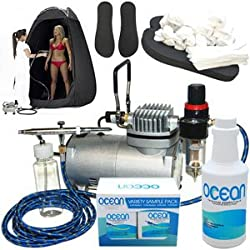 Complete Professional Turbo Tan Airbrush Sunless Tanning System with a Pint of 12.5% DHA Solution with Dark Bronzer, 4 Solution Variety Pack (1 Pint Total), Tanning Tent and Accessories