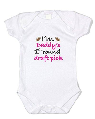 """Baffle """"Daddy's 1st Round Draft Pick"""" Pink Text, White Onesie (0-3 Months)"""