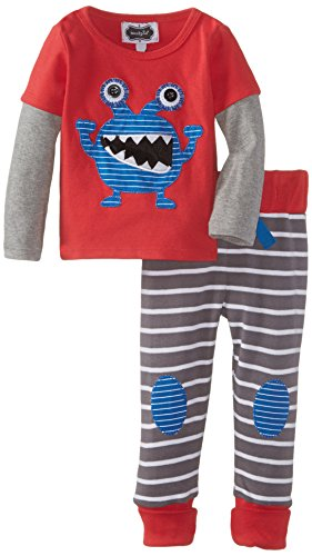 Mud Pie Baby-Boys Newborn Monster Pant Set, Red, 0-6 Months front-1032727