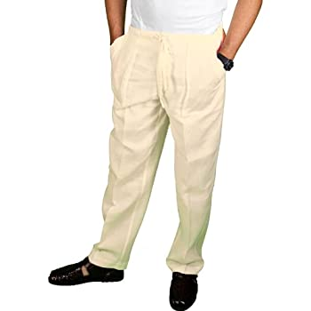 Ivory linen drawstring pants for men