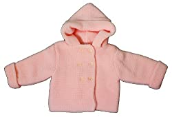 Beautiful Luxury Warm Knit Double Layer Hooded Cardigan/Jacket in Pink or White - Sizes born to 3 Months - Great Gift Idea for Babies, Mums